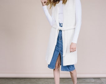 50% off-sale SLEEVELESS WOOL CARDIGAN with belt