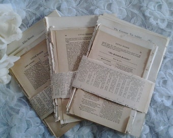 Antique vintage paper pages for collage, mixed media, decoupage, jewellry, card making, scrapbooking and other art & craft projects