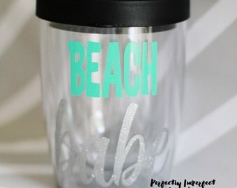 Stemless Wine Tumbler//Bev2Go Tumbler//Beach Babe Wine Glass//Beach Wine Glass//Stemless Wine Glass//Travel Wine Glass//Pool Wine Glass