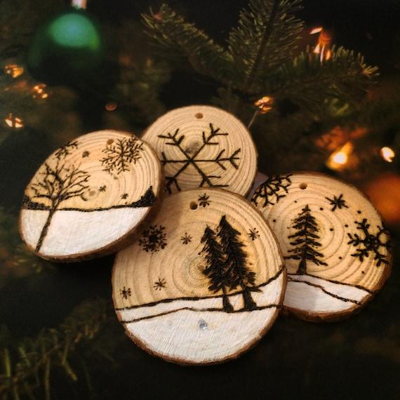 Wood Burned Log Slice Christmas Tree Decoration By Alibongoart