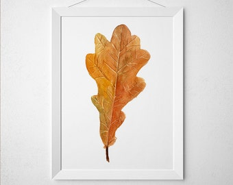 Oak leaf print Autumn leaf art Watercolor poster Nursery print ACW396