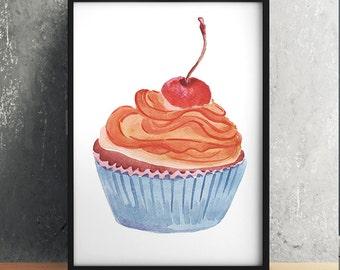 Cupcake art Kitchen print Food print Watercolor poster ACW616