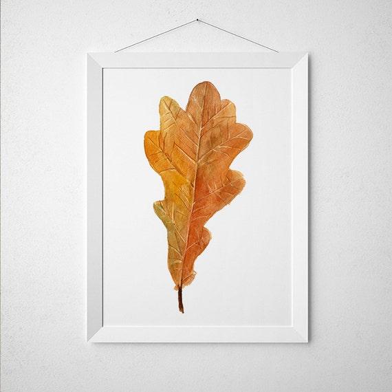 Fall decor Oak leaf print Autumn leaf art Watercolor poster Nursery print ACW396