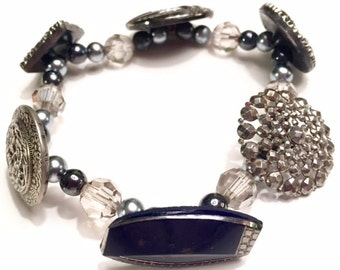 Vintage Black and Silver Button and Bead Bracelet