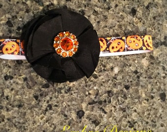 Newborn halloween headband- newborn headband- holiday headband- halloween headband- ornage and black headband- baby headband- pumpkin