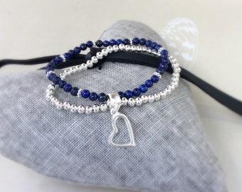 Lapis Lazuli Bracelet, lapis Lazuli, multi strand bracelet, yoga bracelet, stacking bracelet, silver plated bracelet, semi precious beads