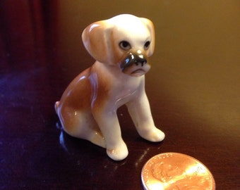 Vintage Bone China Miniature Boxer Puppy Figurine
