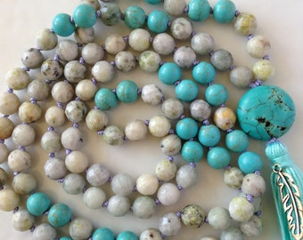 Mala Necklace- Magnesite & Moss Agate