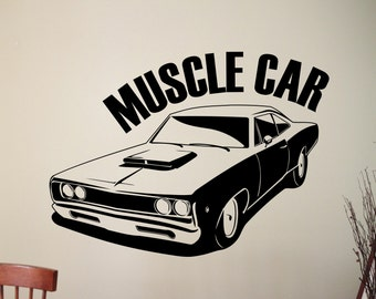 muscle car decals etsy. Black Bedroom Furniture Sets. Home Design Ideas