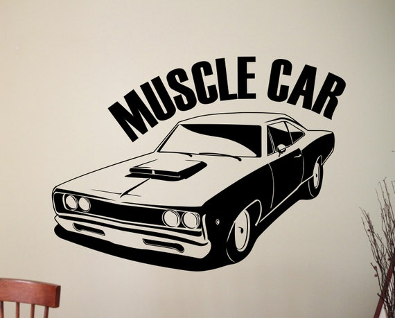 muscle car wall decal racing stickers home interior design. Black Bedroom Furniture Sets. Home Design Ideas