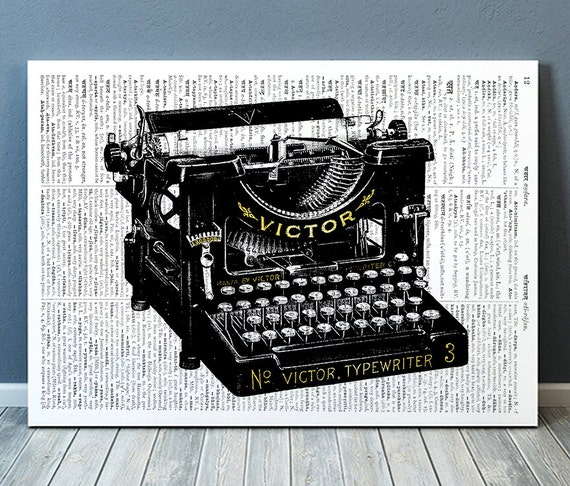 Typewriter Poster Office Print Retro Print Vintage Decor