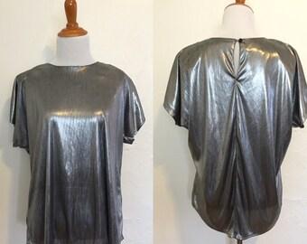 Vintage 80s Silver Shimmer Blouse