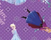 Frozen Sisters Forever Character Toss Fabric - Disney Frozen Cotton Fabric Purple Anna Elsa Fabric Licensed Disney Fabric