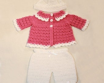 Pink and White Set for Baby Girls