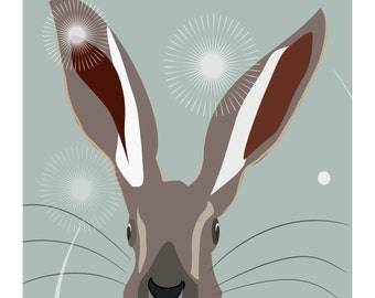 Hare greetings card - Sage