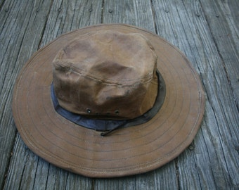 Vintage Filson Tin Cloth Canvas Hat // Waxed Canvas Wide Brim Hat // Outdoor Hat // Fisherman's Hat // Brown Tan Hat