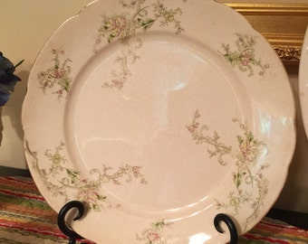 Antique Mercer Dinner Plate: Greens and Pinks