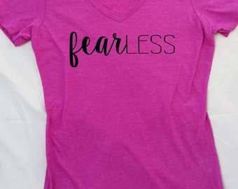 NEW!! FearLESS Heathered Pink Raspberry V Neck Tee