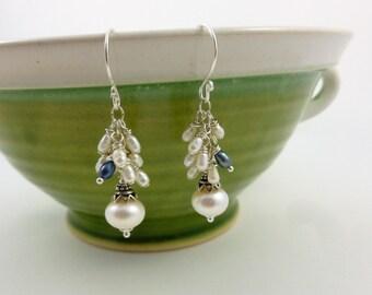 Freshwater pearl earrings, pearl drop earrings, pearl cluster earrings, white freshwater pearls, grey blue freshwater pearl