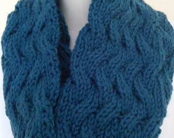 Hand Knit Wool Chunky Cabled Cowl/Infinity Scarf