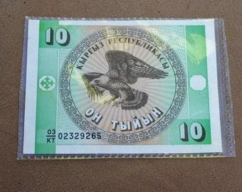 money, Kyrgzstan Kirguistan 10 Tyiyn Bank Note