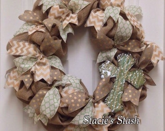 Burlap Wreath. Front Door Burlap Wreath. Burlap Door Wreath. Wreath With Cross. Fall Wreath. Autumn Wreath. Burlap Decor