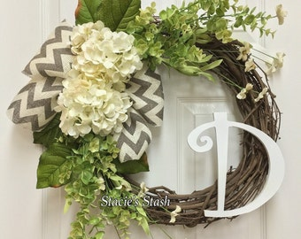 Initial Wreath, Hydrangea Wreath, Monogram Wreath, Wreath for Front Door