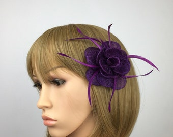 Small Purple fascinator on clip Purple hair grip hair accessory hair pin brooch corsage for wedding, mother of the brides Ascot Races