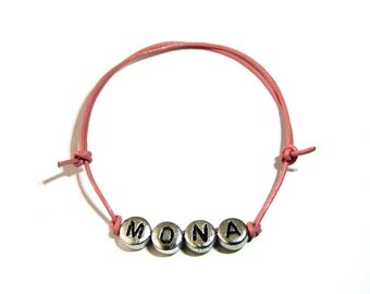 Name bracelet forename leather rose, silver beads