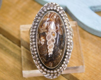 Unique Baculite Sterling Silver Ring Size 9.5