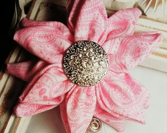 Pink Flower Name Badge Holder