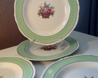 English china Plates Vintage dish set of Woods and Sons with green border and flowers on dishes
