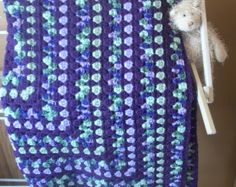 Purple and Green Crocheted Baby Blanket
