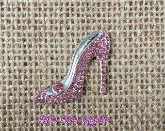 Light Pink High Heel Rhinestone Embellishment- Stiletto Rhinestone- 29mm- Shoe Rhinestone Flatback- Rhinestone for Headband -Wholesale