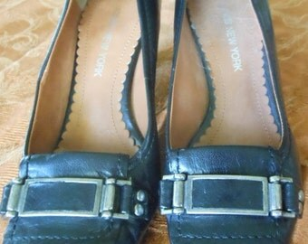 Vintage Jones New York Black Buckle Pumps