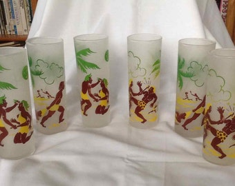 "Vintage Federal Glass Set of Six Tom Collins Tall Boy Glasses ""Happy Daze"" - Made in USA - 1950's"