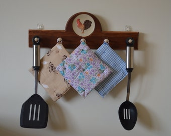 Hand crafted Rooster Kitchen Decor With Pegs For Hanging Items.