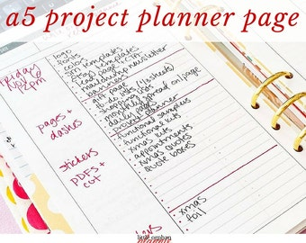 A5 Project Planner Printable