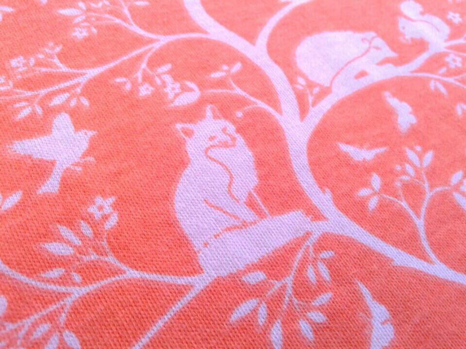 Sale fox fabric organic knit fox print vines on coral for Fox print fabric