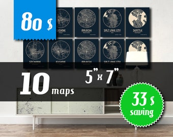 WHOLESALE! 10 maps 5''x7'' size - 33 dollars saving! Great deal -SAVE 33 dollars - get 10 maps with wholesale discount!