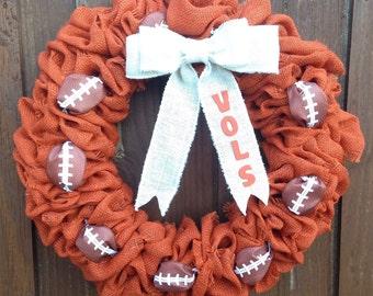 Tennessee Vols Wreath, UT Wreath, Vols Burlap Wreath, TN Vols Wreath, Orange Burlap UT Wreath