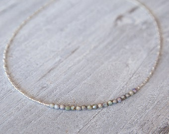 Mother of Pearl Necklace Silver Necklace, Wedding Jewelry, Modern Jewelry, Bridesmaid Jewellery, Silver Bridesmaid Necklace, Boho Bride