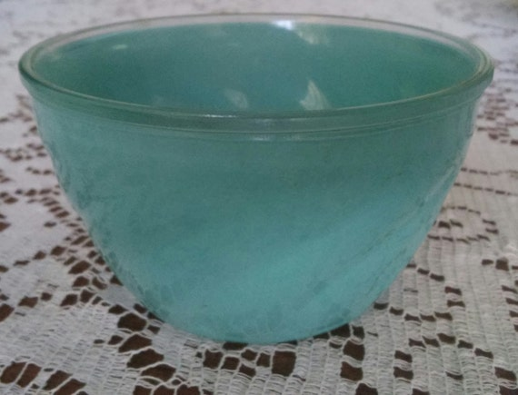 Vintage Painted Glass Bowl Custard Dish Light Blue Green Aqua