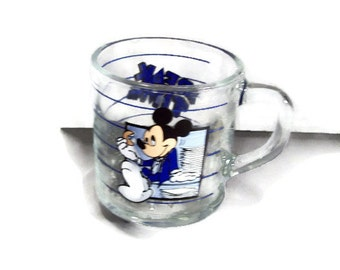 "Vintage 80's Disney MICKEY office ""Break Time"" Anchor Hocking glass coffee mug cup"