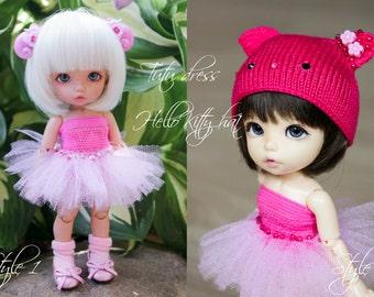 Tutu dress & Hello Kitty / Smiling Cat hat for Pukifee/ Lati Yellow and similar tiny, 1/8 BJD dolls