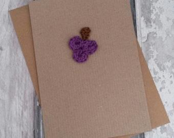 Get well soon, purple grapes crochet card, wine lover