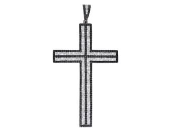 Vintage Black and White Diamond Cross