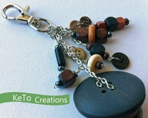 BLK FRI 30% Wood Button Zipper Pull, Wood Button Key Fob, Upcycled Dangler, Earth Tone Zipper Charm