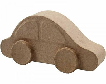 3D Small Car made from recycled brown papier mache, kids craft, cardboard shapes, party bags,