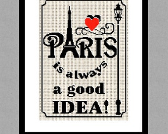 Buy 2 get 1 free. Paris is Always a Good Idea - Cross Stitch Pattern. Audrey Hepburn Quote Cross Stitch Pattern INSTANT DOWNLOAD